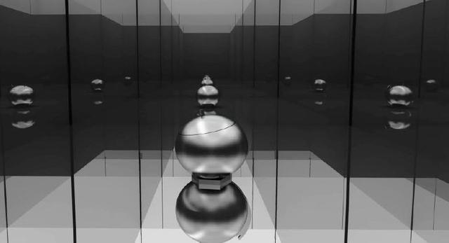 Projekt architektoniczny nowej wystawy; zwielokrotnione odbicie bryły  przedmiotu