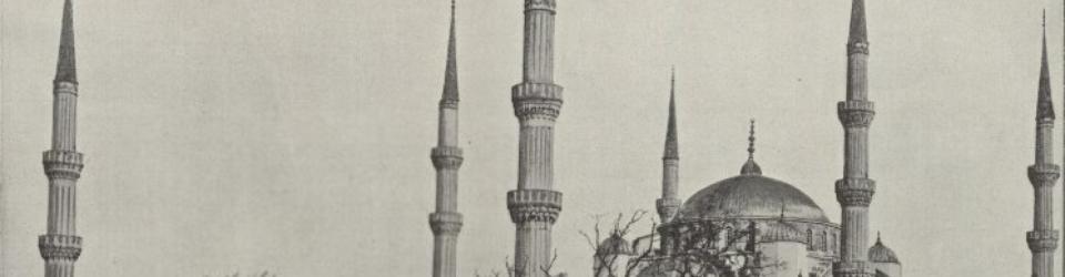 Minarety, meczet sułtana Achmeda w Stambule. John L. Stoddard, Świat w obrazach: zbiór fotografii najbardziej uwagi godnych miast, okolic i dzieł sztuki z Europy, Azyi, Afryki, Australii, Północnej i Południowej Ameryki, Lwów 1900. Fot. Polana
